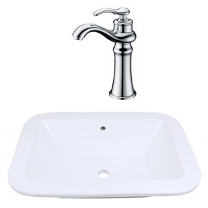 21.75-in W Rectangle Vessel Set With Deck Mount Faucet