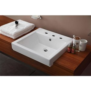 "American Imaginations Semi-Recessed Vessel Set - 20.5"" - Ceramic - White"