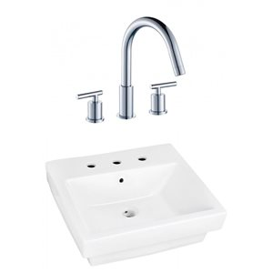 20.5-in W Rectangle Vessel Set With 3 Hole 8-in CTC Center Faucet