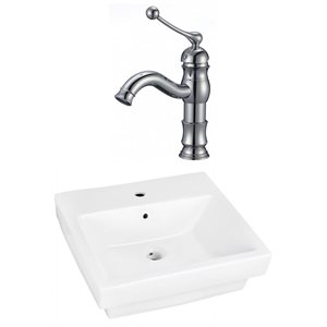 20.5-in W Rectangle Vessel Set With 1 Hole Center Faucet