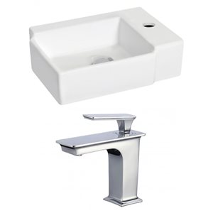 16.25-in W x 11.75-in D Rectangle Vessel Set With Single Hole CUPC Faucet (Wall Mount)