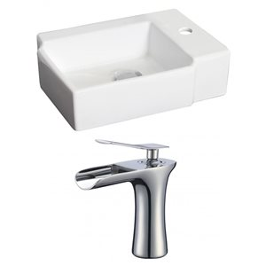 16.25-in W x 11.75-in D Rectangle Vessel Set With Single Hole CUPC Faucet (Above Counter)