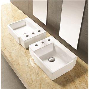 """American Imaginations Above-Counter Vessel - 16.25"""" - Ceramic - White"""