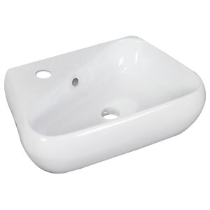 17.5-in W x 11-in B2F Above Counter Unique Vessel for Single Hole Faucet