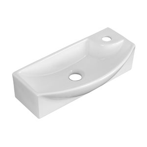 17.75-in W x 8.75-in B2F Rectangle Vessel for Single Hole Faucet