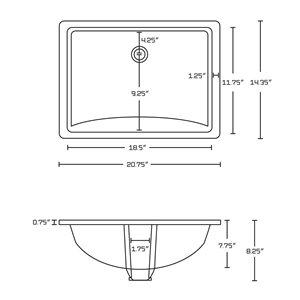 "American Imaginations Undermount Sink Set - 20.75"" - Ceramic - Biscuit"