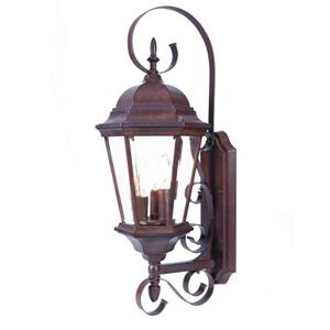 Acclaim Lighting New Orleans 25-in Burled Walnut 3-Light Outdoor Wall Lantern