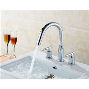 American Imaginations 20.75 Semi-Recessed White Ceramic Vessel Set With Chrome Faucet