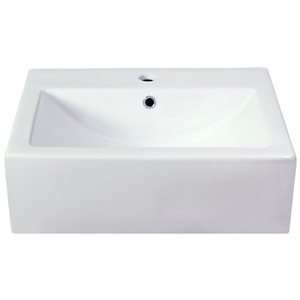 American Imaginations 20.75-in Semi-Recessed White Ceramic Vessel Set With Chrome Faucet