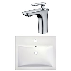 American Imaginations Semi-Recessed White Ceramic Vessel Set With Chrome Faucet