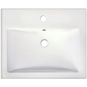 American Imaginations 20.75-in Semi-Recessed White Ceramic Vessel Set With Chrome Faucet