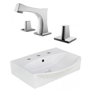 American Imaginations 19.5-In White Ceramic Wall Mount Vessel Set Chrome Faucet