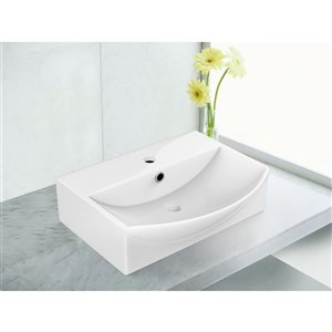 American Imaginations 19.5-in W Rectangle Vessel Set With 1 Hole Center Faucet White