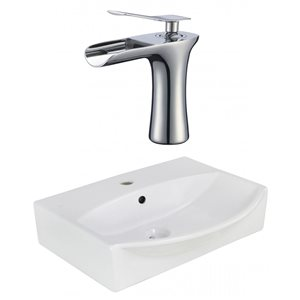 19.5-in W Rectangle Vessel Set With 1 Hole Center Faucet