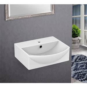 American Imaginations 13.75-In White Ceramic Wall Mount Vessel Set Chrome Faucet