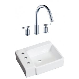 American Imaginations 16.25-in W Rectangle Vessel Set With 3 Hole 8-in CTC Left Faucet