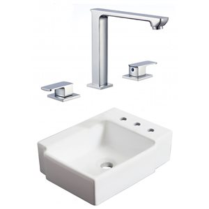 American Imaginations 16.25-in W Rectangle Vessel Set With 3 Hole 8-in CTC Right Faucet