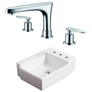 16.25-in W Rectangle Vessel Set With 3 Hole 8-in CTC Right Faucet