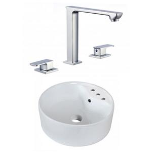 American Imaginations 18.25-in W Round Above Counter Vessel Set With 3 Hole 8-in CTC Center Faucet