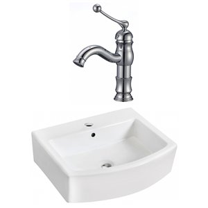 22.25-in W Rectangle Vessel Set With 1 Hole Center Faucet