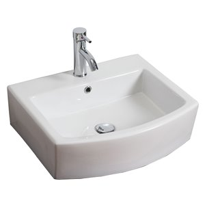 American Imaginations 22.25-in Above-Counter White Ceramic Vessel Set With Chrome Faucet