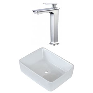 American Imaginations 18.75-in W Rectangle Above Counter Vessel Set With Deck Mount Faucet
