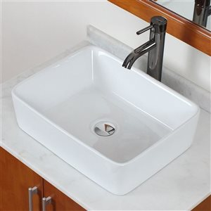 American Imaginations 18.75-in W Rectangle Above Counter Vessel Set With Deck Mount Faucet White