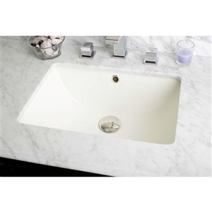 American Imaginations Buscuit 18.25-in  Ceramic Rectangular Undermount Sink  With Chrome Faucet, Drain And Overflow Cap
