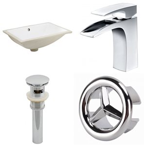 18.25-in W CUPC Rectangle Undermount Sink Set With 1 Hole CUPC Faucet