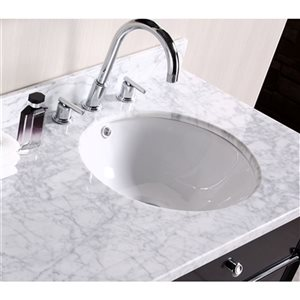 American Imaginations 15.25-in W CUPC Round Undermount Sink Set With 1 Hole CUPC Faucet White