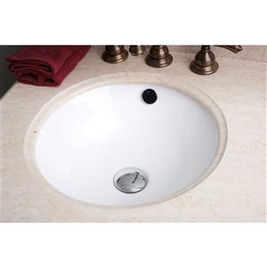 American Imaginations Chrome/White 16.5-in W CUPC Ceramic Undermount Round Sink Set With 1 Hole Faucet