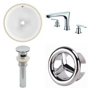 American Imaginations Chrome/White 16.5-in W CUPC Ceramic Undermount Round Sink Set With 3 Hole 8-in Faucet