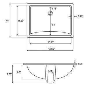 American Imaginations Biscuit 18.25-in CUPC Ceramic Rectangular Undermount Sink Set With Brushed Nickel Sink Drain