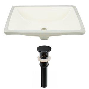 American Imaginations Biscuit 18.25-in CUPC Ceramic Rectangular Undermount Sink Set With Black Sink Drain