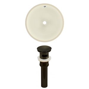 American Imaginations 16-in W Round Undermount Sink Set Oil-Rubbed Bronze/Biscuit