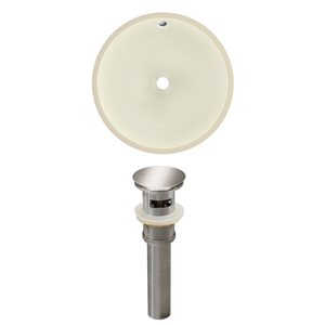 American Imaginations 16-in W Round Undermount Sink Set Brushed Nickel/Biscuit