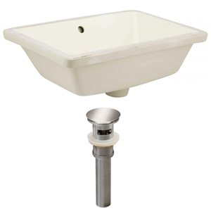 American Imaginations 18.25-in Ceramic Rectangle Undermount Sink Set Brushed Nickel/Biscuit