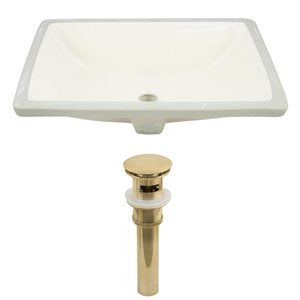 American Imaginations 20.75-in W Rectangle Undermount Sink Set Gold/Biscuit