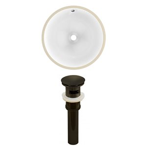 American Imaginations Oil Rubbed Bronze/White 16.5-in W CSA Ceramic Undermount Round Sink Set With Drain
