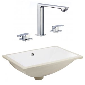 American Imaginations 20.75-in Whit Ceramic Undermount Sink Set