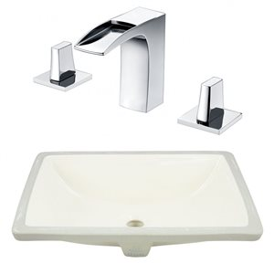 20.75-in W CSA Rectangle Undermount Sink Set With 3 Hole 8-in CTC CUPC Faucet