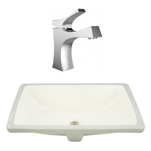20.75-in W CSA Rectangle Undermount Sink Set With 1 Hole CUPC Faucet