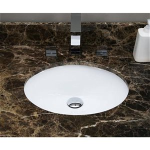 American Imaginations Chrome/White 16.5-in W CSA Ceramic Undermount Oval Sink Set With 3 Hole 8-in Faucet