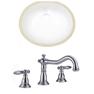 19.5-in W CUPC Oval Undermount Sink Set With 3 Hole 8-in CTC CUPC Faucet