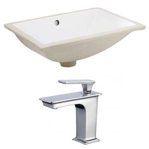 American Imaginations White 18.25-in CUPC Ceramic Rectangular Undermount Sink Set With Chrome Faucet