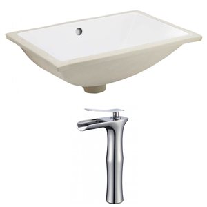 18.25-in W CUPC Rectangle Undermount Sink Set With Deck Mount CUPC Faucet