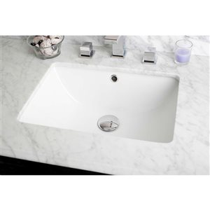 American Imaginations 18.25-in W CUPC Rectangle Undermount Sink Set With Deck Mount CUPC Faucet Chrome/White