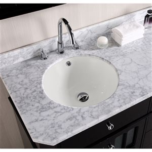American Imaginations 16-in W Round Undermount Sink Set With 3-Hole 8-in Faucet Chrome/Biscuit