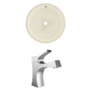 American Imaginations Biscuit/Chrome 16-in W CUPC Ceramic Undermount Round Sink Set With 1 Hole Faucet