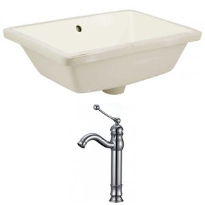 American Imaginations 18.25-in W Rectangle Undermount Sink Set With Deck Mount CUPC Faucet Chrome/Biscuit